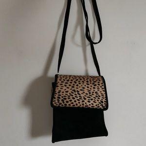 Handbags - NWT Vintage Ponyhair Black Suede Crossbody Purse